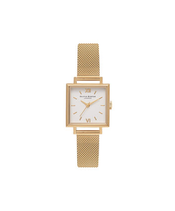 OLIVIA BURTON LONDON Square Dial Gold Mesh Watch OB16SS04 – Midi Square in White and Gold - Front view
