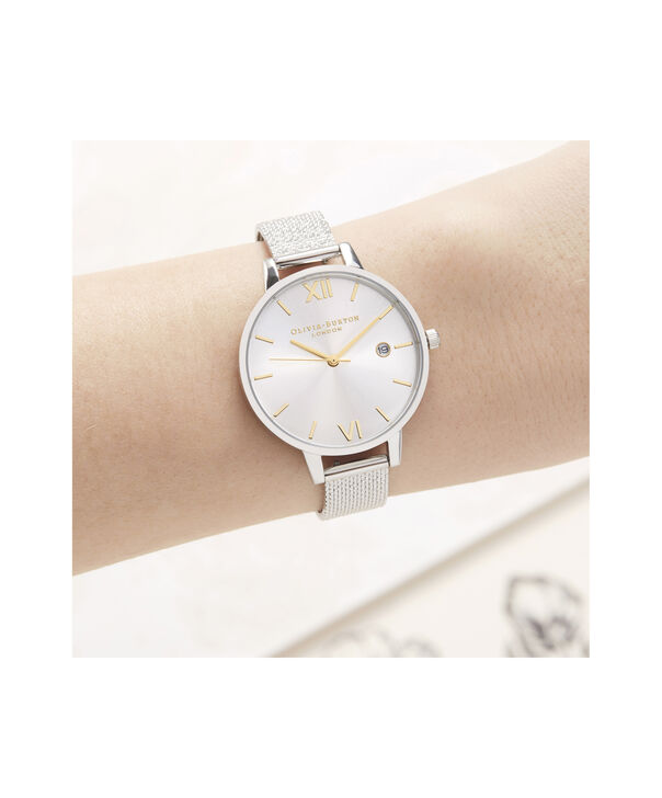 OLIVIA BURTON LONDON Sunray Demi Dial Watch with Boucle MeshOB16DE02 – Demi Dial in silver and Silver & Gold - Other view