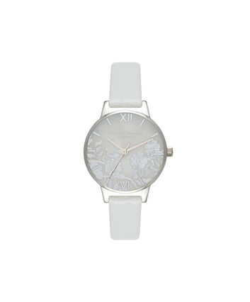 OLIVIA BURTON LONDON  Lace Detail Mother of Pearl Light Grey & Silver OB16MV93 – Midi Dial Round in Silver and Grey - Front view