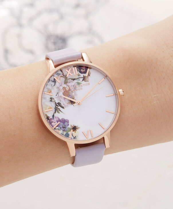 OLIVIA BURTON LONDON  Enchanted Garden Parma Violet & Rose Gold OB16EG110 – Big Dial Round in Rose Gold and Parma Violet - Other view