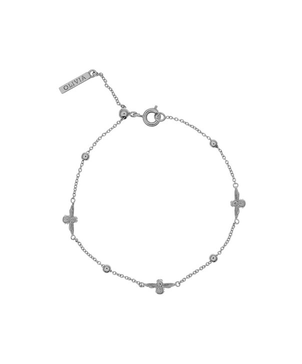 OLIVIA BURTON LONDON  3D Bee & Ball Chain Bracelet Silver OBJ16AMB17 – 3D Bee Chain Bracelet - Front view