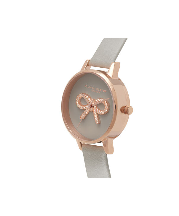OLIVIA BURTON LONDON  3D Vintage Bow Grey & Rose Gold Watch OB16VB04 – Midi Dial Round in Grey - Side view
