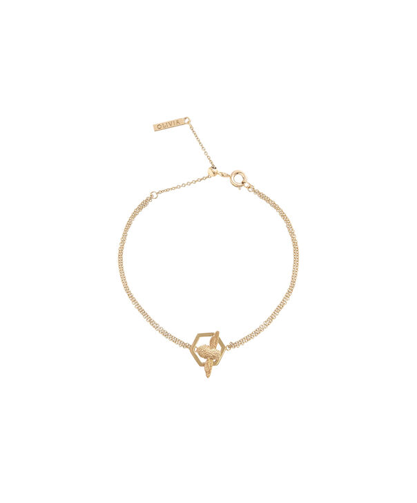 OLIVIA BURTON LONDON  Honeycomb Bee Chain Bracelet Gold  OBJ16AMB32 – Honeycomb Bee Chain Bracelet - Side view