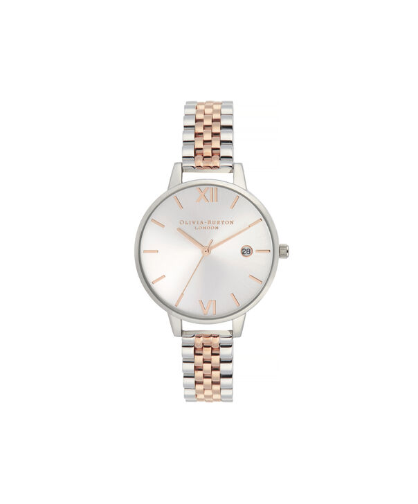 OLIVIA BURTON LONDON Sunray Demi Dial WatchOB16DE06 – rose gold and Silver & Rose Gold - Front view