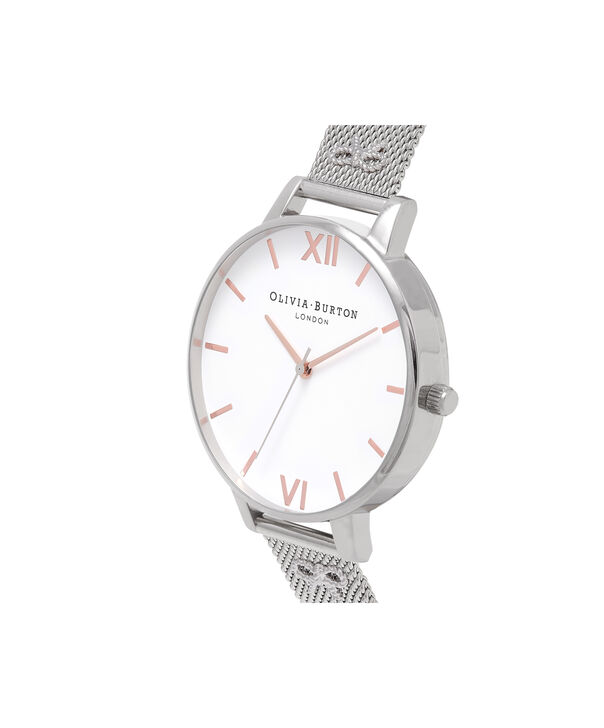 OLIVIA BURTON LONDON Embellished Strap Mesh Watch, Rose Gold & SilverOB16ES10 – Big Dial Round in White and Silver - Side view
