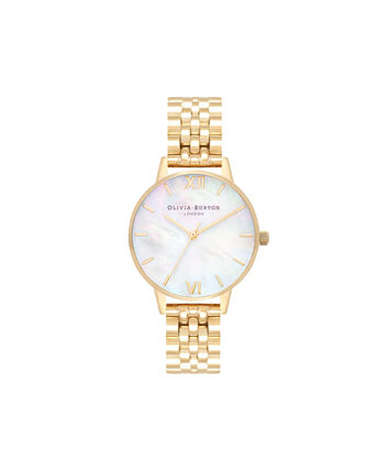 OLIVIA BURTON LONDON  Mother of Pearl White Bracelet, Gold OB16MOP01 – Midi Dial Round in Gold and Gold - Front view