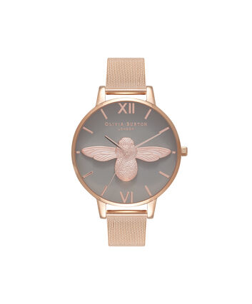 OLIVIA BURTON LONDON 3D BeeOB16AM117 – Big Dial Round in Grey and Rose Gold - Front view