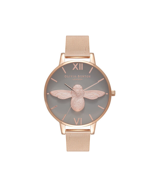 OLIVIA BURTON LONDON  3D Bee Rose Gold Mesh Watch OB16AM117 – Big Dial Round in Grey and Rose Gold - Front view
