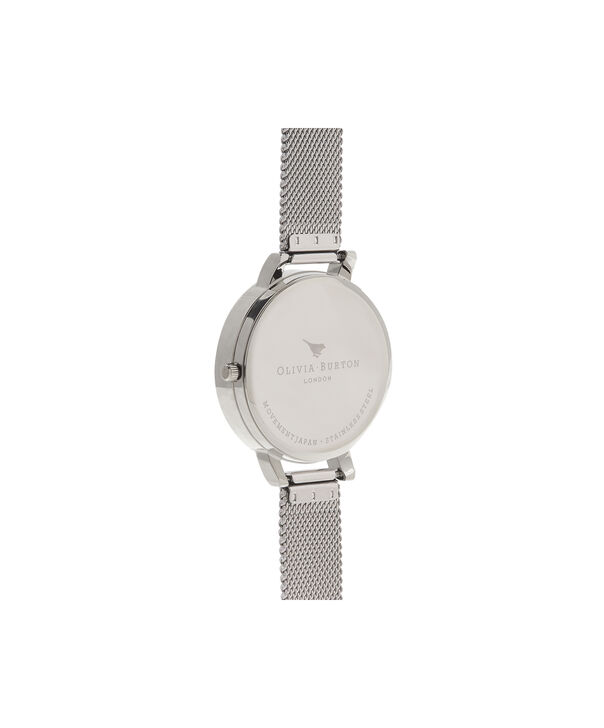 OLIVIA BURTON LONDON  Watercolour Florals Silver Mesh OB16PP42 – Big Dial Round in Silver - Back view