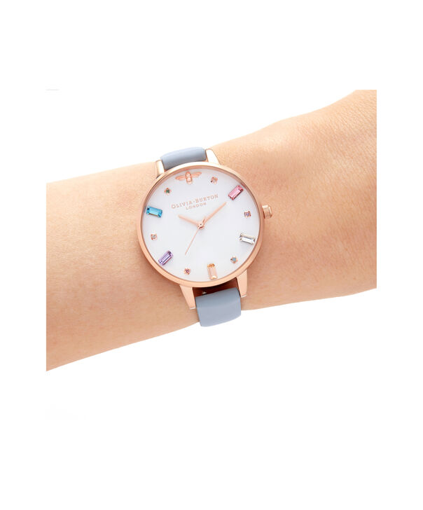 OLIVIA BURTON LONDON Rainbow Bee Demi Chalk Blue & Rose GoldOB16RB12 – Demi Dial In Blue And Rose Gold - Other view