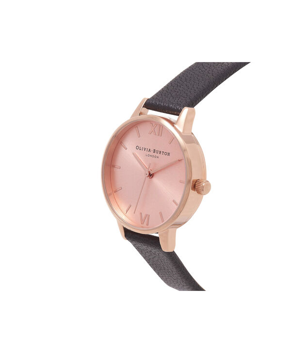 OLIVIA BURTON LONDON Midi Dial Black And Rose Gold WatchOB15MD39 – Midi Round in Rose Gold and Black - Side view