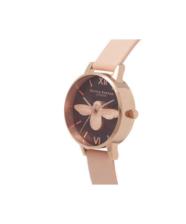 OLIVIA BURTON LONDON  3D Bee Nude Peach & Rose Gold Watch OB16AM124 – Midi Dial Chocolate and Peach - Side view