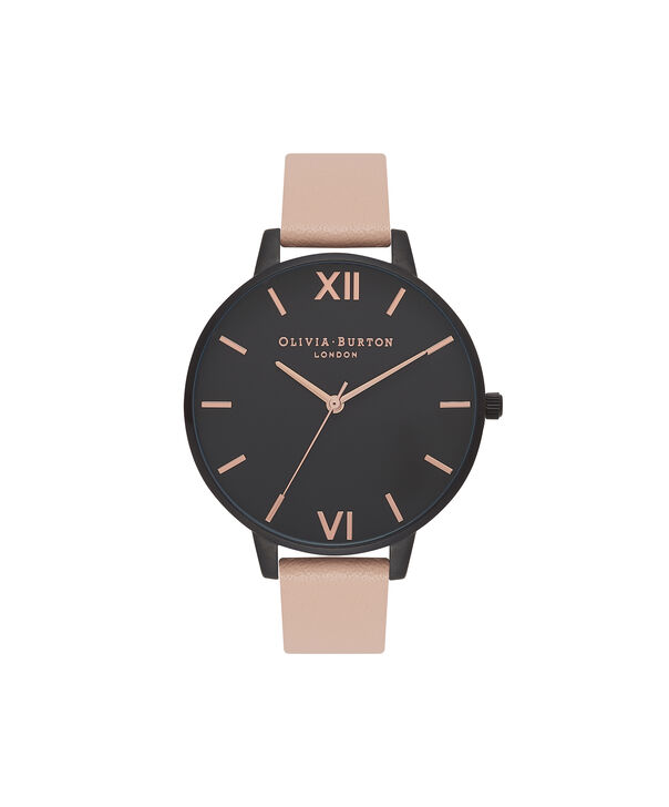 OLIVIA BURTON LONDON  After Dark Nude Peach & Ip Black Watch OB16AD25 – Big Dial Round in Black and Peach - Front view