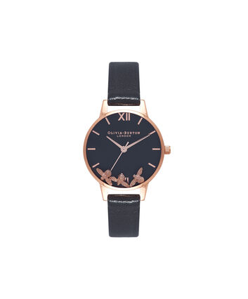 OLIVIA BURTON LONDON Busy Bee Black & Rose Gold Watch OB16CH06 – Midi Dial Round in Black and Rose Gold - Front view