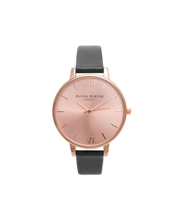 OLIVIA BURTON LONDON  Big Dial Black & Rose Gold Watch OB14BD27 – Big Dial in Rose Gold and Black - Front view