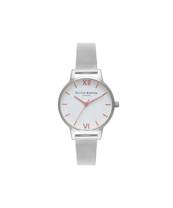 OLIVIA BURTON LONDON  Midi Dial White Dial & Silver Mesh Watch OB16MDW22 – Midi Dial Round in White - Front view