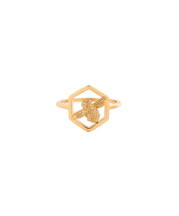 OLIVIA BURTON LONDON  Honeycomb Bee Ring Gold OBJ16AMR05 – Honeycomb Bee Ring - Front view