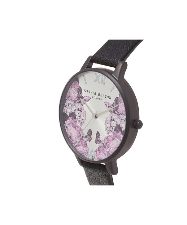 OLIVIA BURTON LONDON  After Dark Black Floral & IP Black Watch OB16AD10 – Big Dial Round in Floral and White - Side view