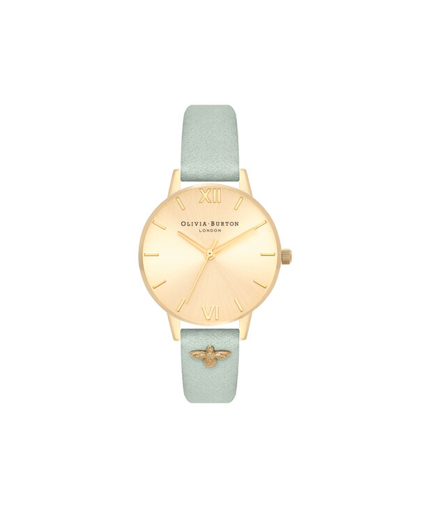 OLIVIA BURTON LONDON  Embellished Strap Sage & Gold OB16ES17 – Midi Dial Round in Gold - Front view