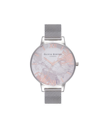 OLIVIA BURTON LONDON Abstract Florals Silver Mesh Watch  OB16VM20 – Midi Round Silver and Rose Gold - Front view