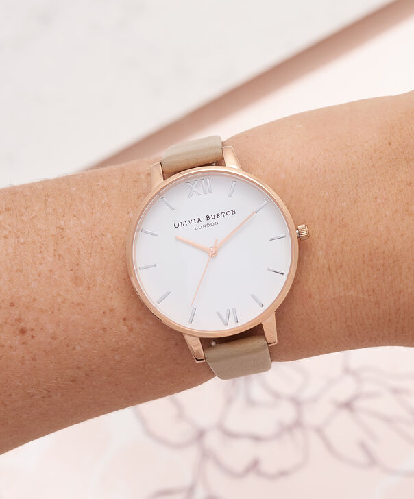 OLIVIA BURTON LONDON  White Dial Sand, Rose Gold & Silver Watch OB16BDW31 – Big Dial in Rose Gold, White and Sand - Other view