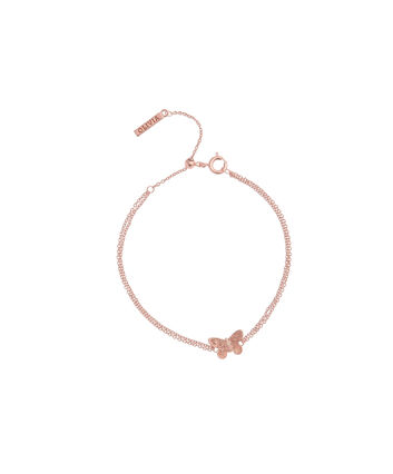 OLIVIA BURTON LONDON  3D Butterfly Chain Bracelet Rose Gold OBJ16MBB02 – 3D Butterfly Chain Bracelet - Front view