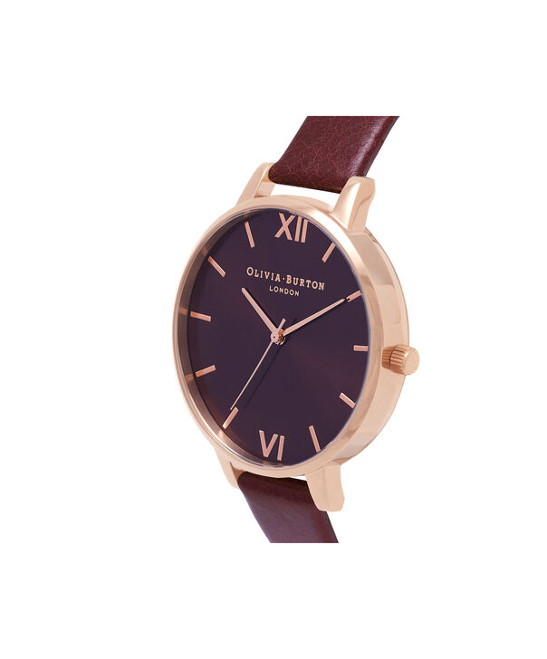 OLIVIA BURTON LONDON  Burgundy & Rose Gold Watch OB16BD106 – Big Dial in Chocolate and Burgundy - Side view