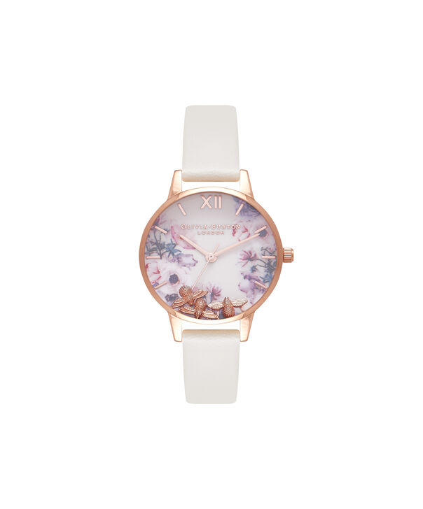 OLIVIA BURTON LONDON  Busy Bees Nude & Rose Gold Watch OB16CH13 – Midi Dial Round in White and Nude - Front view