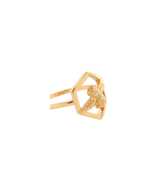 OLIVIA BURTON LONDON  Honeycomb Bee Ring Gold OBJ16AMR05 – Honeycomb Bee Ring - Side view