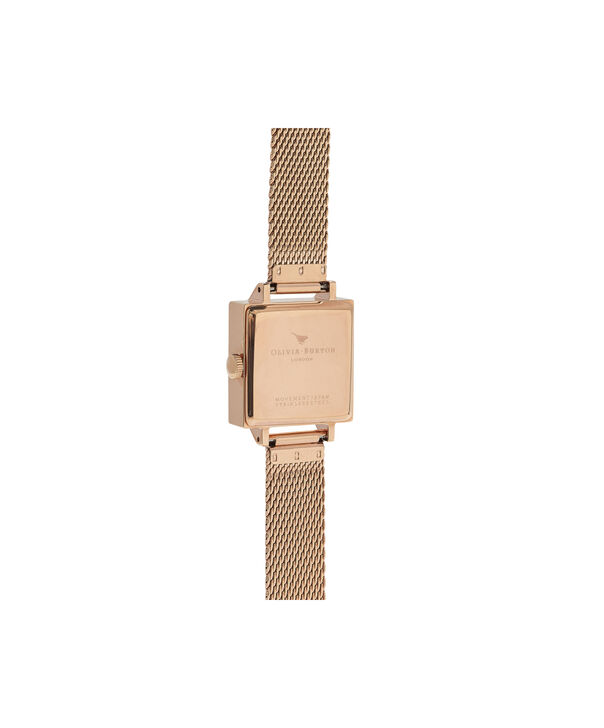 OLIVIA BURTON LONDON  Big Square Dial Rose Gold Mesh Watch OB16SS05 – Big Square in White and Rose Gold - Back view
