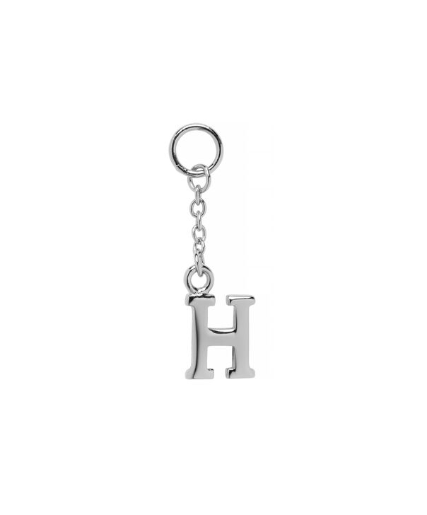 OLIVIA BURTON LONDON  H Alphabet Huggie Charm Silver OBJ16HCSH – Charms - Front view