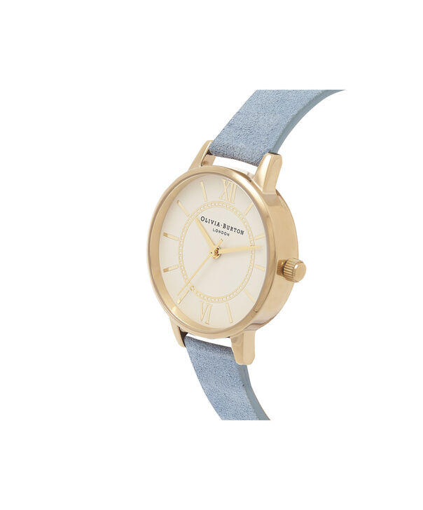 OLIVIA BURTON LONDON  Wonderland Chalk Blue Suede, Nude Dial & Gold OB16WD82 – Midi Dial Round in Gold and Chalk Blue - Side view