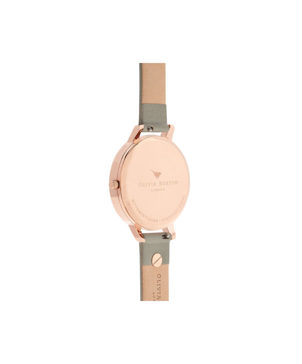 OLIVIA BURTON LONDON  3D Bee Embellished Strap Grey & Rose Gold Watch OB16ES13 – Big Dial Round in White and Grey - Back view