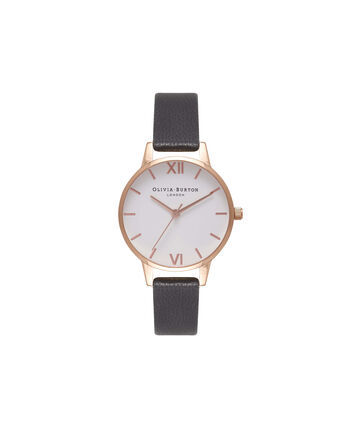 OLIVIA BURTON LONDON  White Dial Midi Black & Rose Gold Watch OB16MDW07 – Midi Dial Round in White and Black - Front view