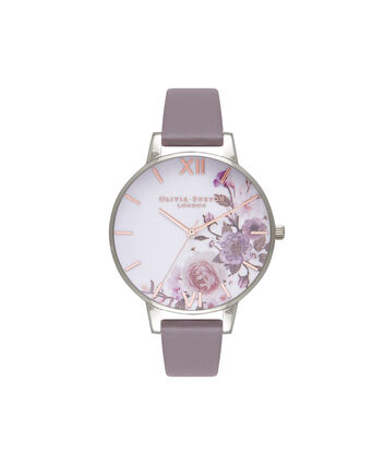 OLIVIA BURTON LONDON Enchanted GardenOB16WG38 – Big Dial Round in Floral and London Grey - Front view