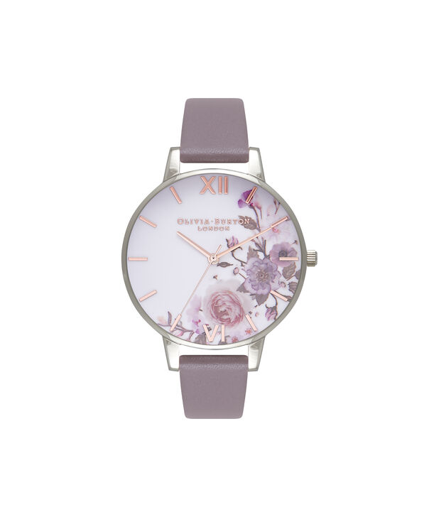 OLIVIA BURTON LONDON  Enchanted Garden London Grey & Silver Watch OB16WG38 – Big Dial Round in Floral and London Grey - Front view