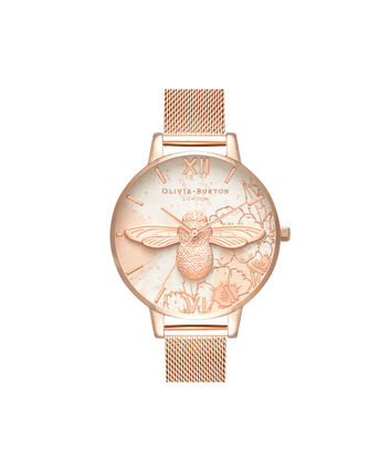 OLIVIA BURTON LONDON  Abstract Florals Rose Gold Mesh OB16VM26 – Big Dial Round in Rose Gold - Front view