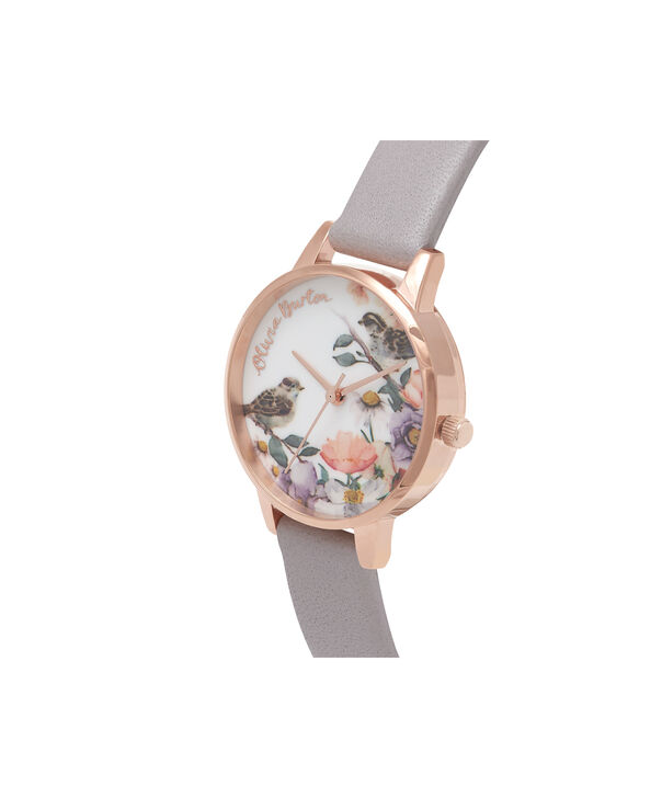 OLIVIA BURTON LONDON English Garden Grey Lilac & Rose Gold Watch OB16ER13 – Midi Dial in White and Grey Lilac - Side view