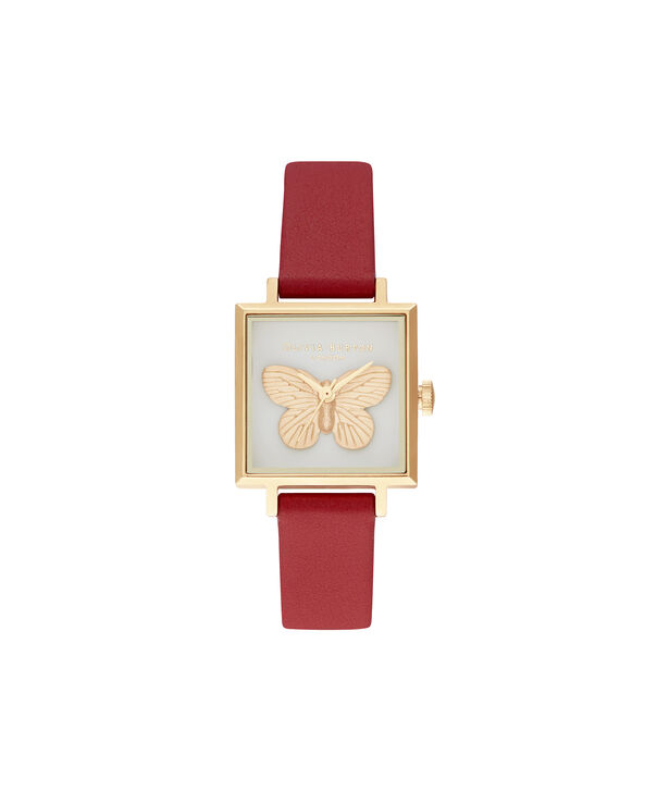 OLIVIA BURTON LONDON 3D Butterfly Gift Set Red & GoldOB16GSET27 – Demi Dial In Red And Gold - Side view