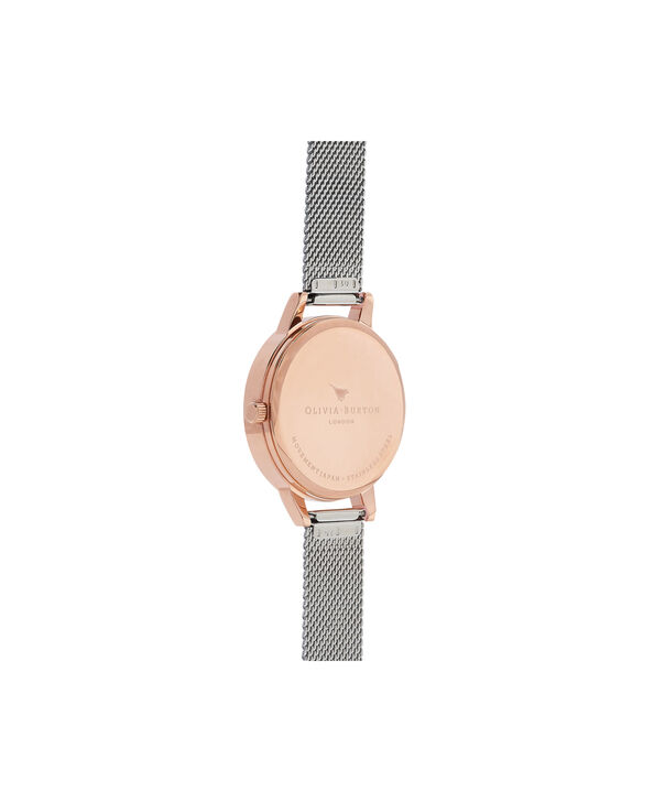 OLIVIA BURTON LONDON 3D Bee Embellished Strap Rose Gold & Silver 3D Bee Mesh Watch OB16ES04 – Midi Dial Round in White and Rose Gold - Back view