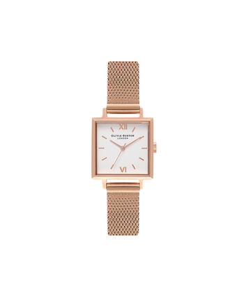OLIVIA BURTON LONDON  Big Square Dial Rose Gold Mesh Watch OB16SS05 – Big Square in White and Rose Gold - Front view
