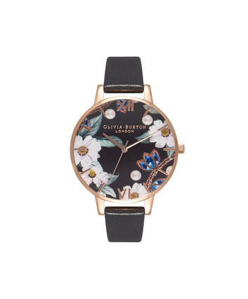 OLIVIA BURTON LONDON Bejewelled FloralsOB16BF04 – Big Dial Round Rose Gold - Front view