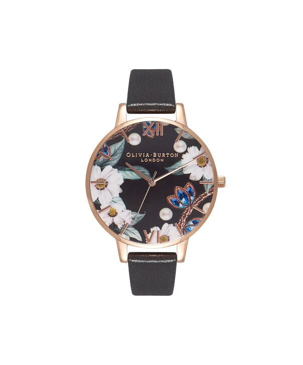 OLIVIA BURTON LONDON  Bejewelled Rose Gold Watch OB16BF04 – Big Dial Round Rose Gold - Front view
