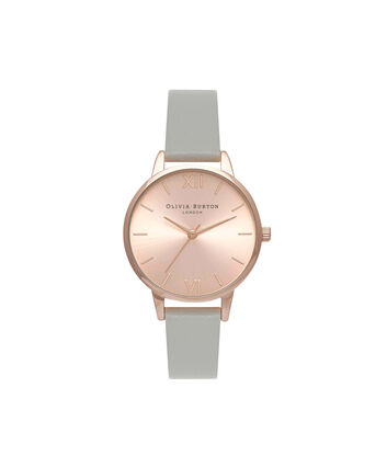 OLIVIA BURTON LONDON Sunray DialOB15MD46 – Midi Dial Round in Rose Gold and Grey - Front view