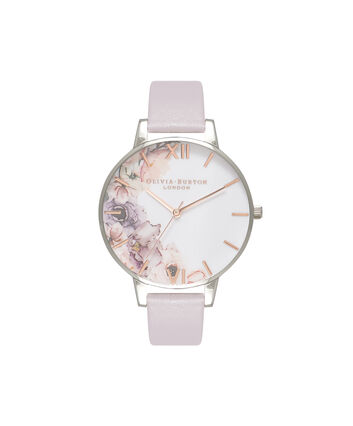 OLIVIA BURTON LONDON  Watercolour Florals Grey Lilac & Silver Watch OB16PP32 – Big Dial Round in Floral and Grey Lilac - Front view