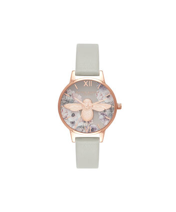 OLIVIA BURTON LONDON Watercolour Florals Grey & Rose GoldOB16PP43 – Midi Dial Round in Rose Gold - Front view