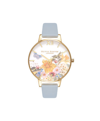 OLIVIA BURTON LONDON Enchanted GardenOB16FS96 – Big Dial Round in Blue and Floral - Front view
