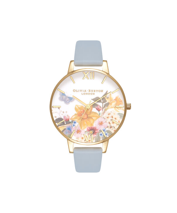 OLIVIA BURTON LONDON  Enchanted Gardens Blue & Rose Gold Watch OB16FS96 – Big Dial Round in Blue and Floral - Front view