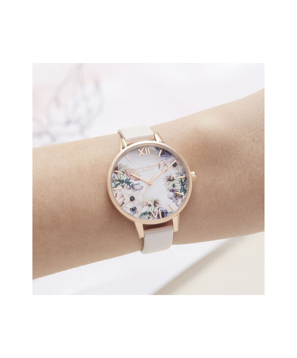 OLIVIA BURTON LONDON Watercolour Florals Demi Dial Watch with Nude Mother-Of-PearlOB16PP53 – Demi Dial in pink and Rose Gold - Other view
