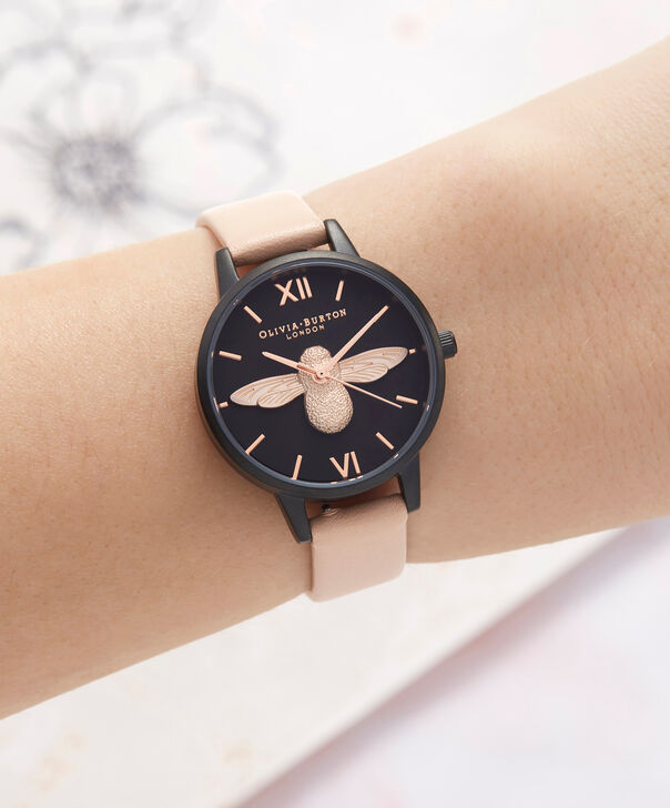 OLIVIA BURTON LONDON  After Dark 3D Bee Nude Peach & Matte Black OB16AD40 – Midi Dial Round in IP Black , Rose Gold and Nude - Other view